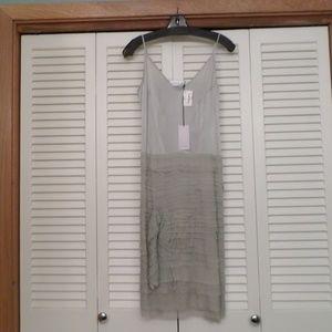NWT VIVIANA UCHITEL LT GRAY SILK TIERED DRESS $785
